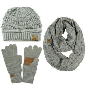 C.C 3pc Knit Warm Beanie Gloves Scarves Set